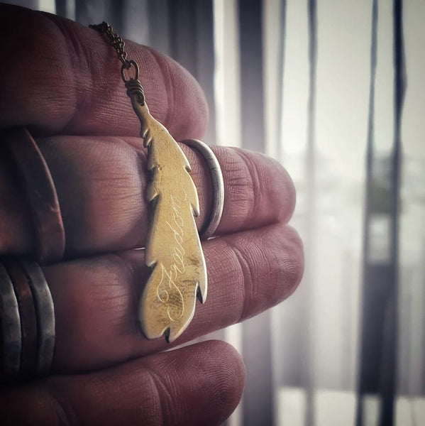 Freedom Feather Necklace Gold