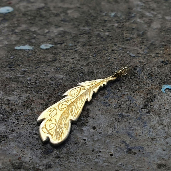 Freedom Feather Charm Gold