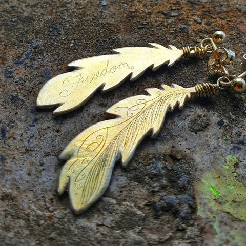 Freedom Feather Earrings Gold