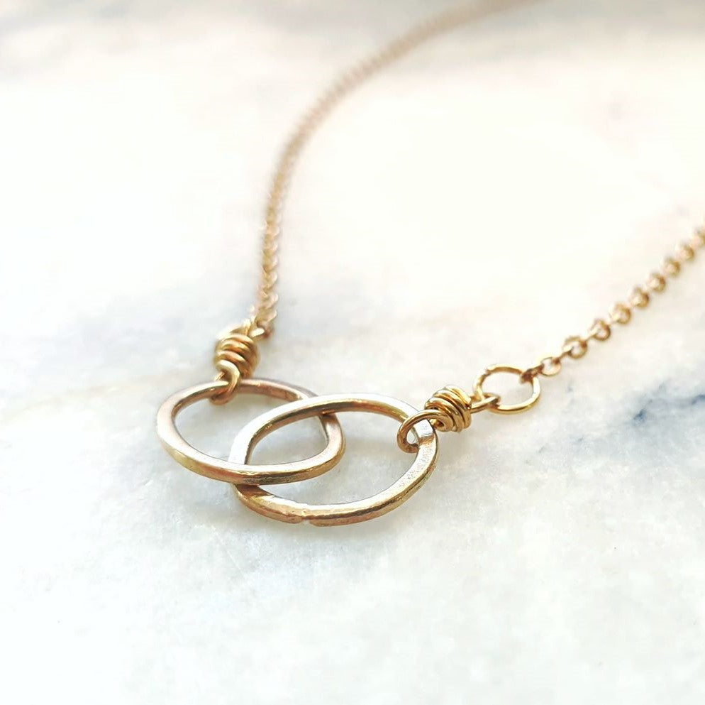 Mini Pebble Duo Necklace Gold