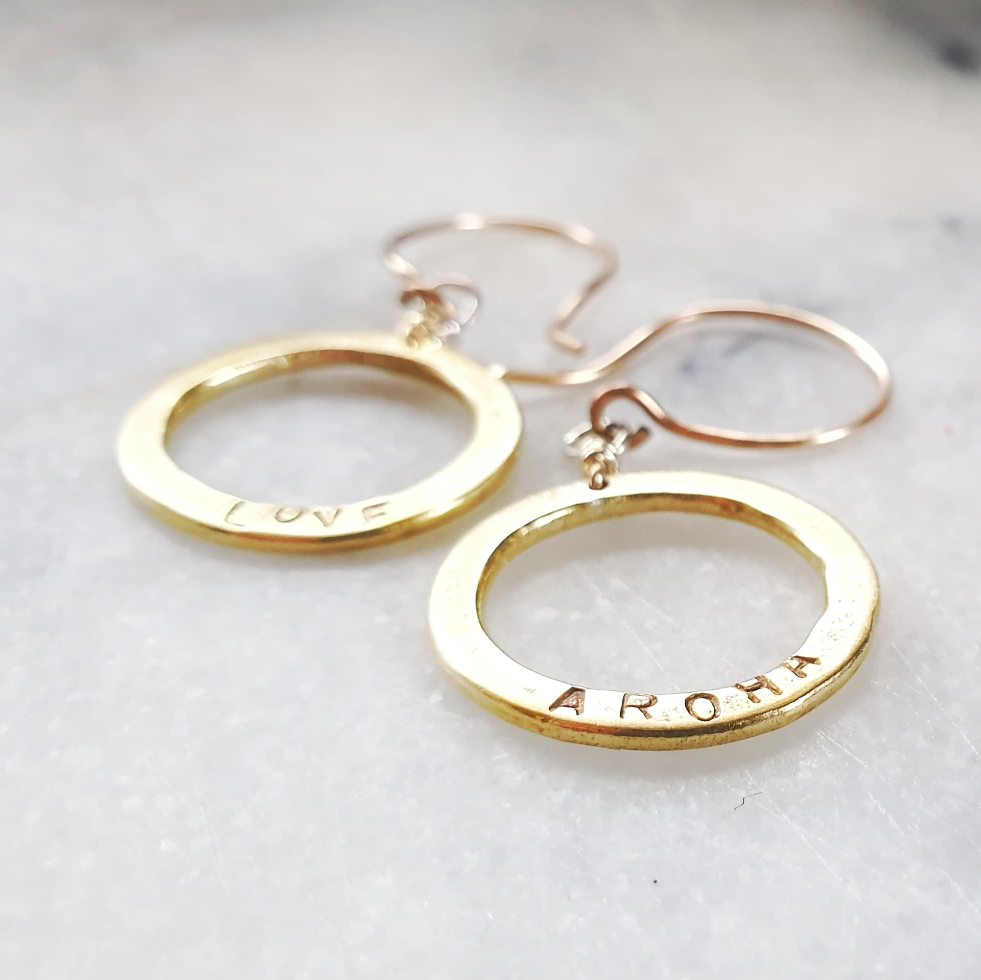 Golden Aroha Circle Earrings