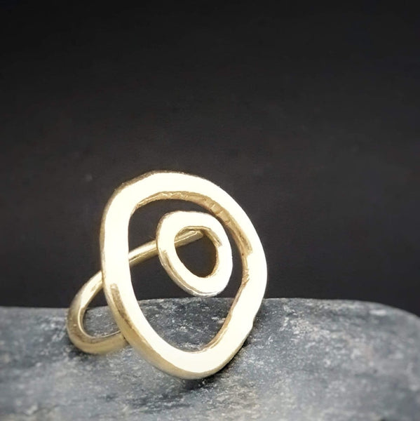 Pebble Inset Ring Gold