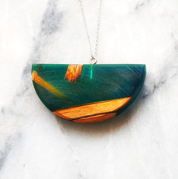 Half Circle Necklace Resin+Wood