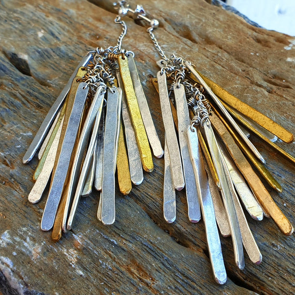 Hammered Feather Cluster Earrings 12 Heavens