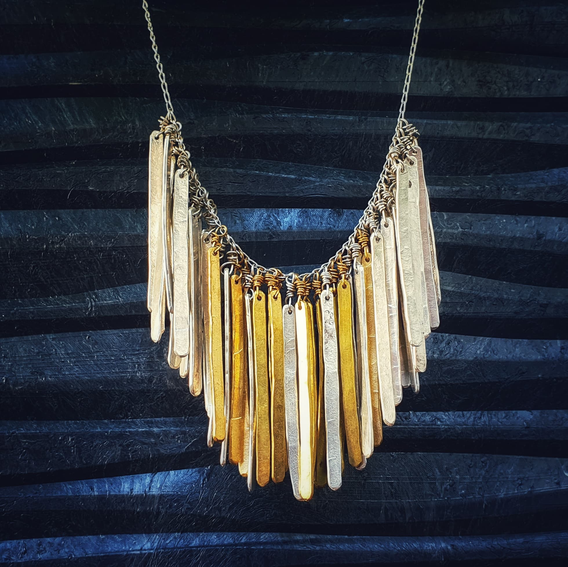 Hammered Feather Bib Necklace 12 Heavens