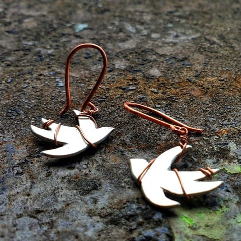 Red Thread Bird Earrings Silver