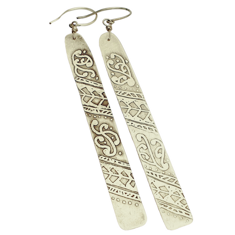 Statement Etched Rectangle Earrings