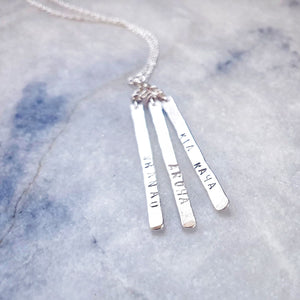 Silver Trio of Feathers Necklace
