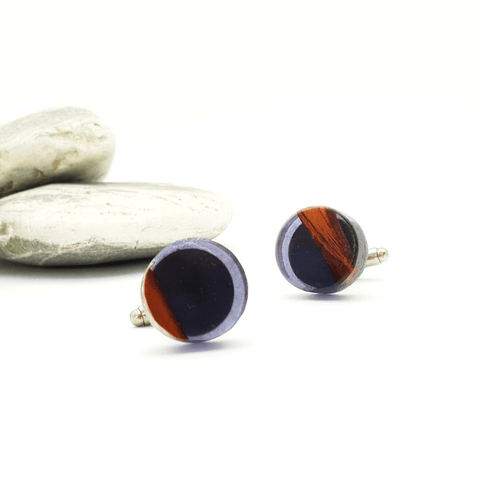 Circle Cufflinks Resin+Wood