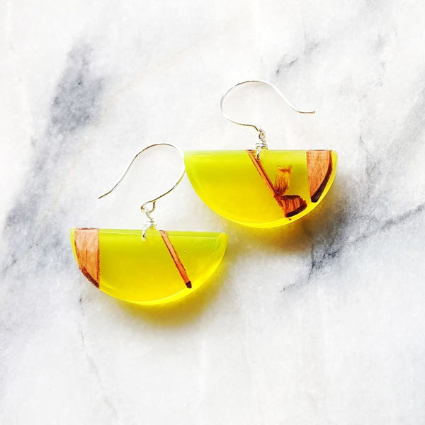 Half Circle Earrings Resin+Wood