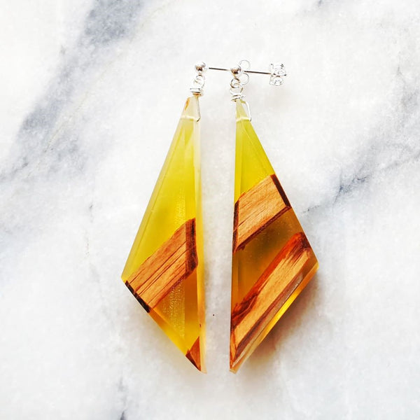 Asymmetric Triangle Earrings Resin+Wood