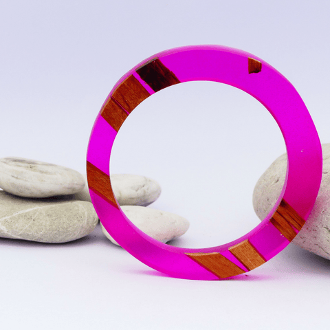Round Resin&Wood Bangle