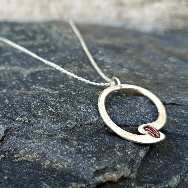 Red Thread Offset Circle Necklace