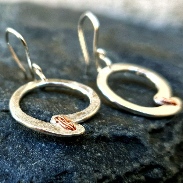 Red Thread Offset Circle Earrings