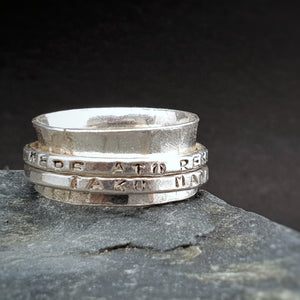 Silver Meditation Ring Double Band