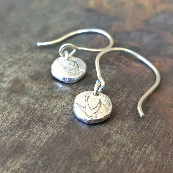 Freedom Swallow Drop Earrings Silver