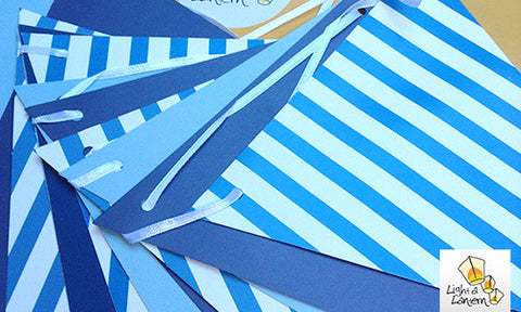blue paper bunting with stripes