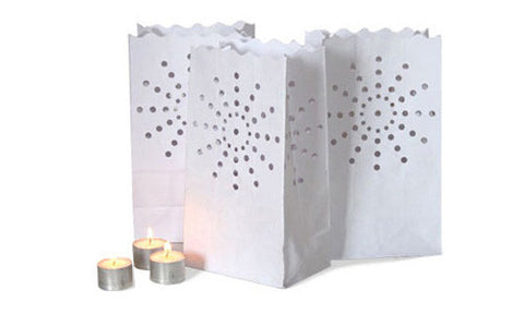 Candle lanterns luminaries with tea lights