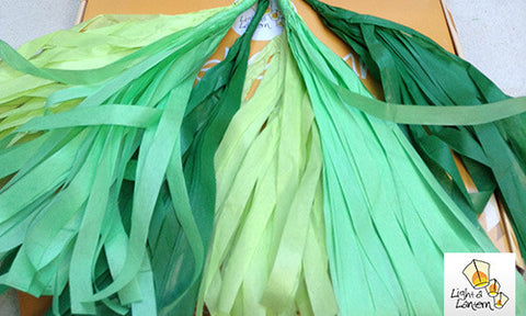 green tassel garlands