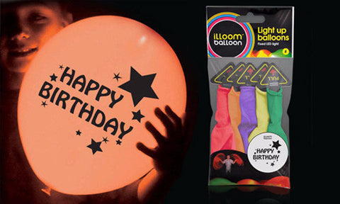 Happy Birthday, glow in the dark illoom balloons