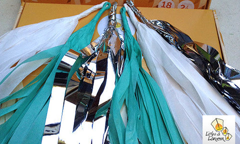 mint, silver and white tassel garlands