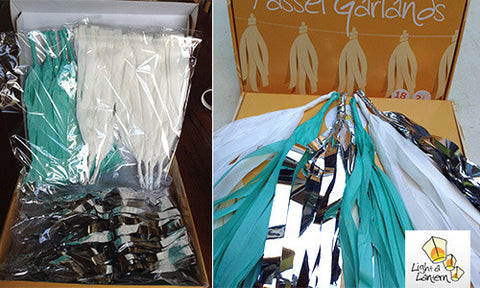 mint, silver and white tassel garlands kit