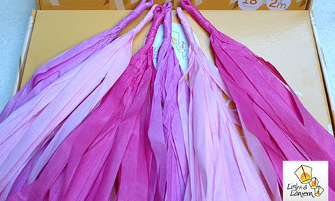 shades of pink tassel garlands