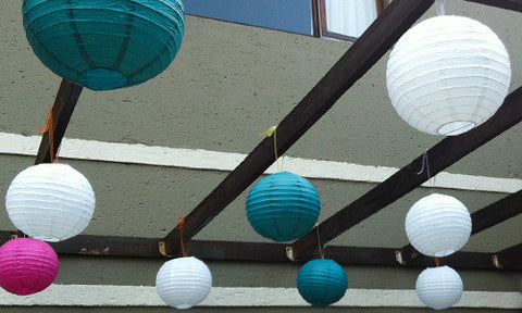 Mixed coloured round paper lanterns
