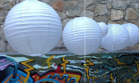White round and eyelet paper lanterns