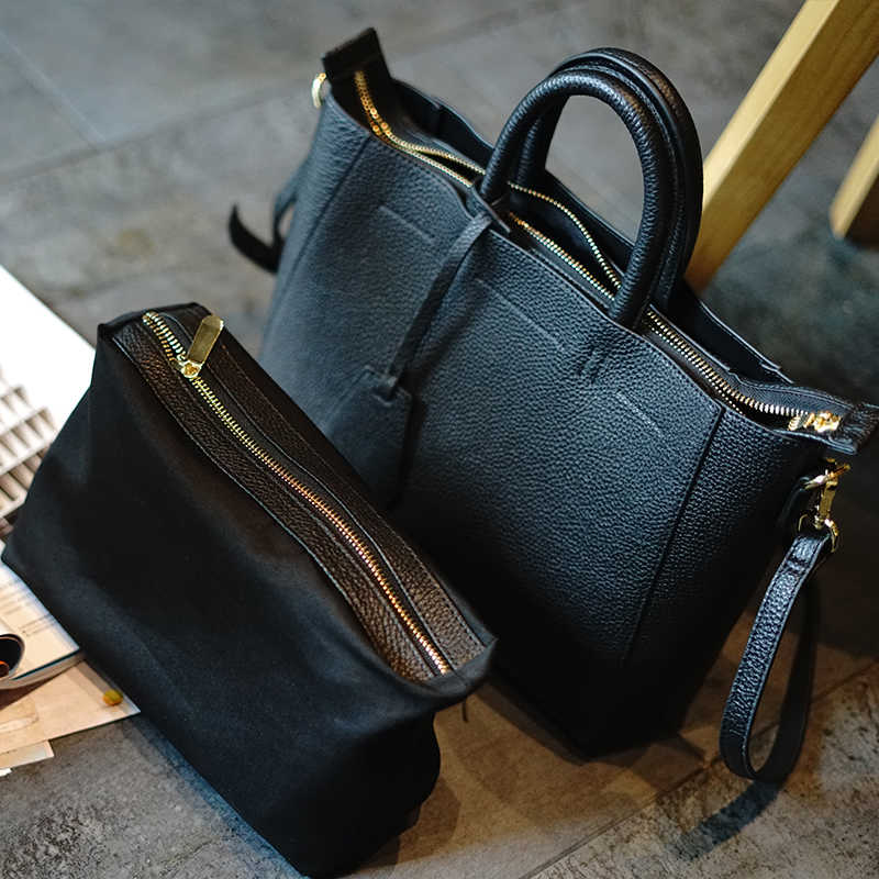 Classic Double Handle Leather Handbag