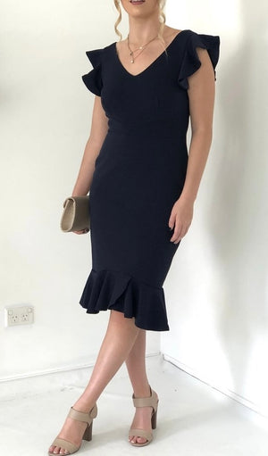 Solid V-Neck Dress With Frill Hem