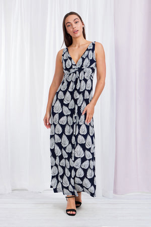 Leaf Print Sleeveless Maxi
