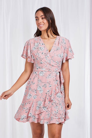 Pleated Neck Line Floral Dress With Tie