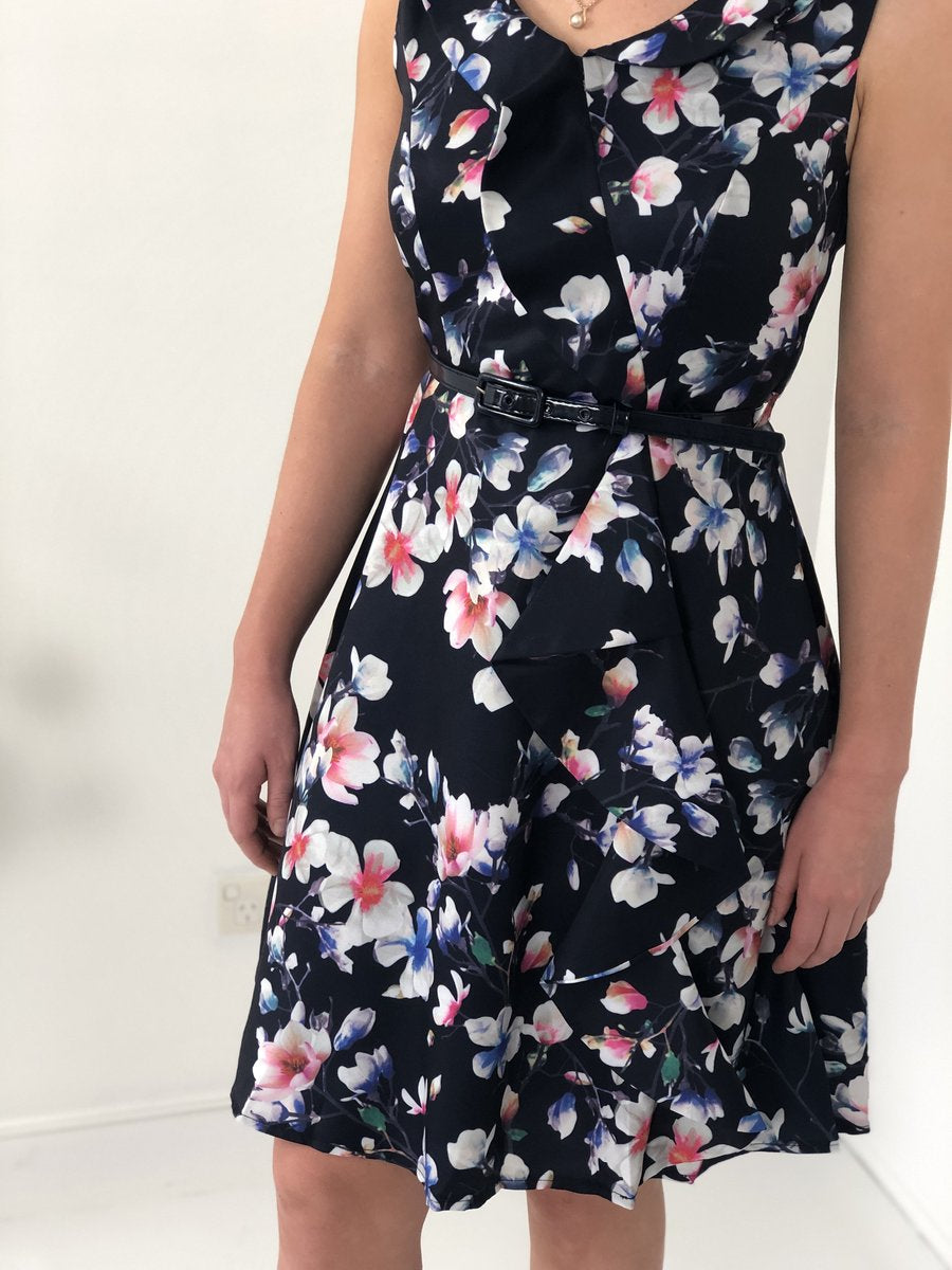 Frill Neck Floral Print Dress With Belt