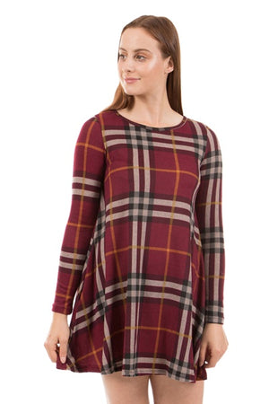 Long Sleeve Check Print Dress