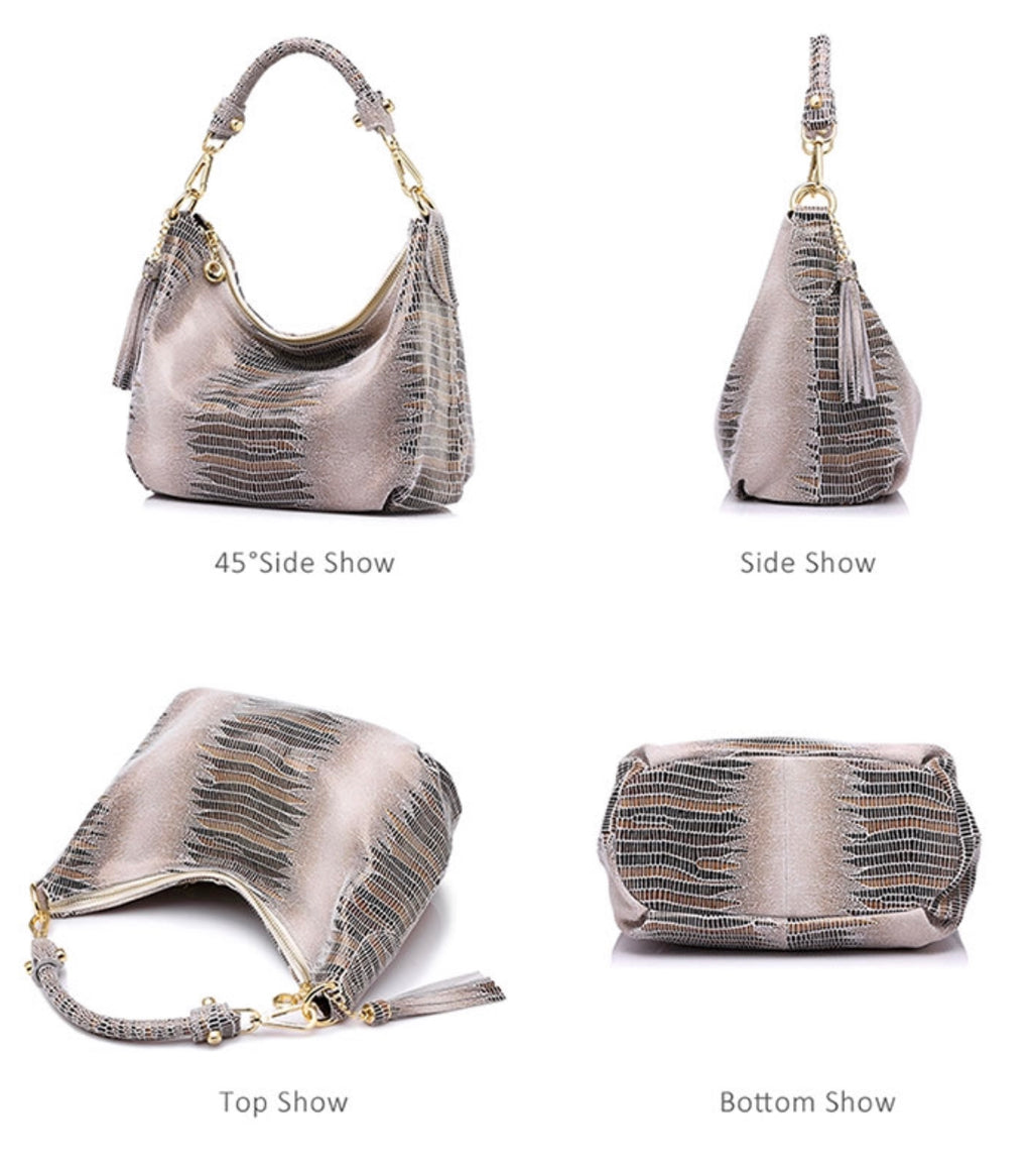Detachable Strap Snake Print Small Leather Bag