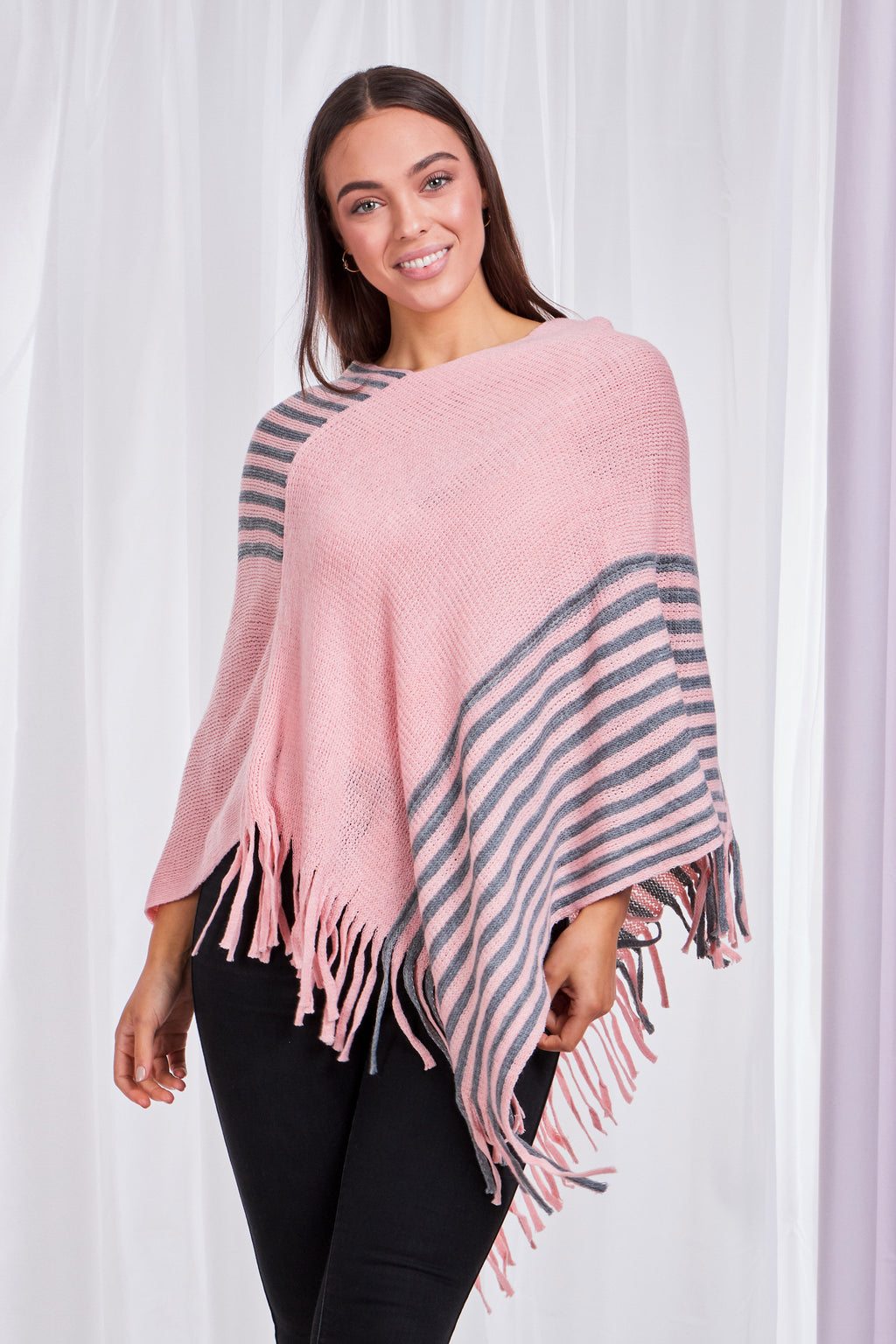 Two Tone Stripe Poncho