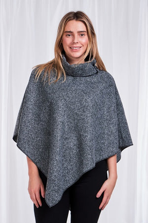Tweed Roll Neck Cape Poncho