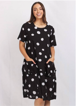 SPOT PRINTED RELAXED SHIFT DRESS