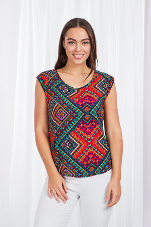 Aztec Print Cap Sleeve Top