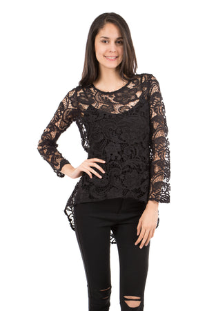 Floral Lace High-Low Top