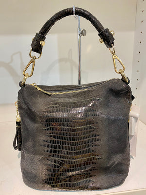 Detachable Strap Snake Print X-Small Leather Bag