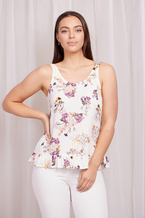 Floral Print Frill Hem Camisole