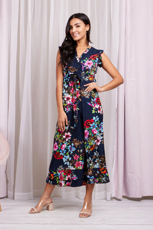 Button Front Floral Maxi Dress