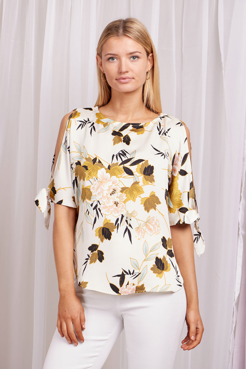 Cold Shoulder Floral Print Blouse