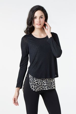 Long Sleeve Top With Contrast Animal Print Hem