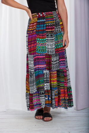 Patchwork Print Long Skirt