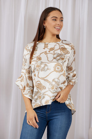Chain Print Bell Sleeve Top