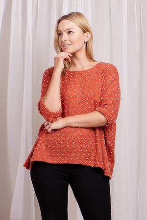 Oversized Polka Dot Top With Back Buttons