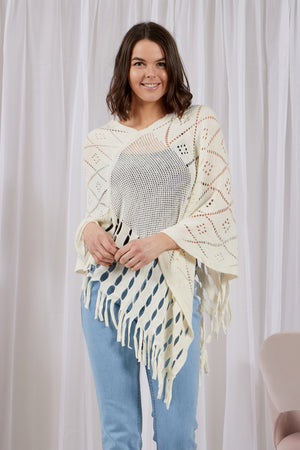 Fringe Hem Cut-Out Detail Poncho